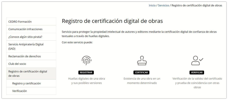 Registro de certificación digital de obras de CEDRO