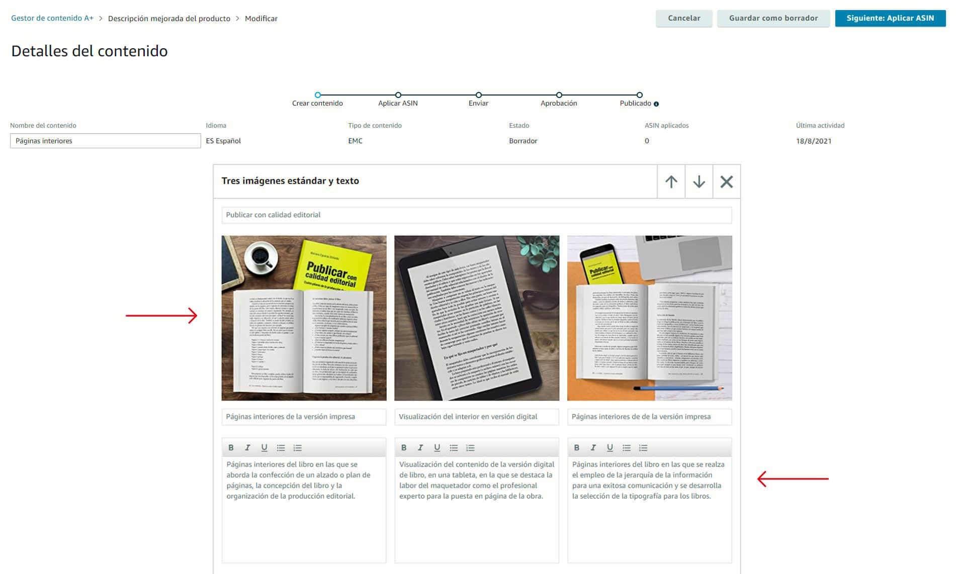 Elegir el módulo, añadir las imágenes con sus correspondientes palabras clave e introducir un título y una descripción para cada imagen.