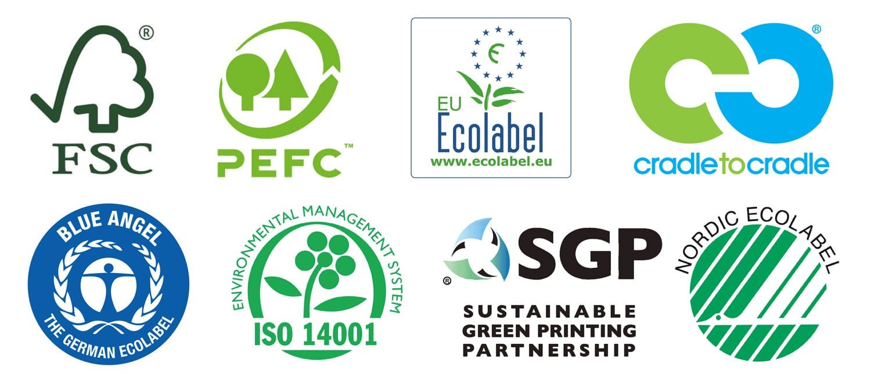 Logotipos de certificaciones medioambientales